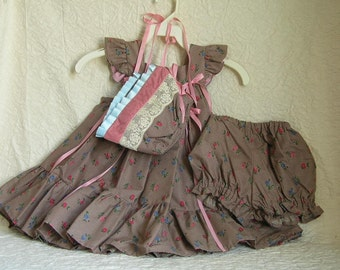 Toddler Dress Bonnet And Bloomers