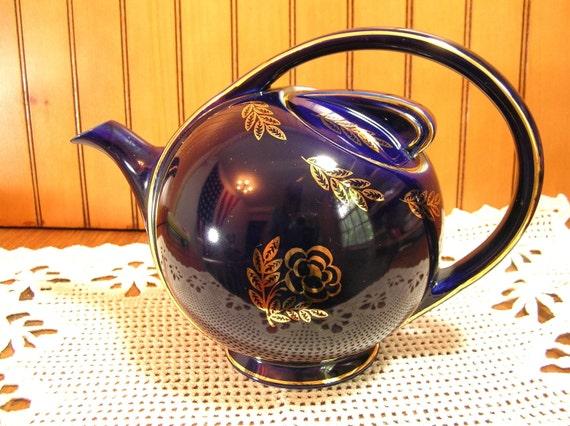 Hall 0443 Art Deco Cobalt Blue Teapot