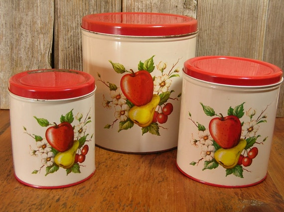 Vintage Tin Canisters Fruit Design