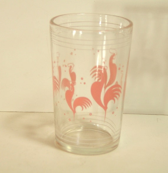 Vintage Pink Rooster Drinking Glass