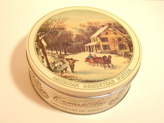 Vintage Currier And Ives Tin Box