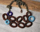 Brown and Blue Crochet Necklace. Soft Jewelry. Bib. One of a Kind