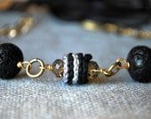 Black and Gray Crochet Necklace with Lava Stone Beads. Long or Short. Boho Jewelry