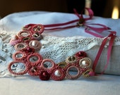 Crochet Necklace with Pearls. Lace Collar Necklace. Romantic Pink. Bib. Elegant Jewelry