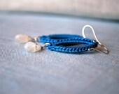 Moonstone Crochet Earrings in Cornflower Blue and Sterling Silver Earwires.