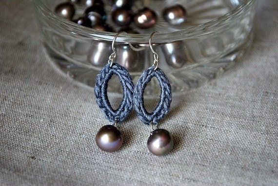 Pearl Earrings with Sterling Silver. Beaded Crochet Jewelry. Hypoallergenic. Elegant Marquis Earrings