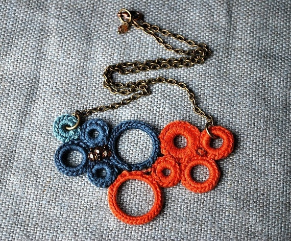 Tangerine and Midnight Blue Crochet Necklace