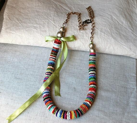 Long Crochet Necklace Multicolor