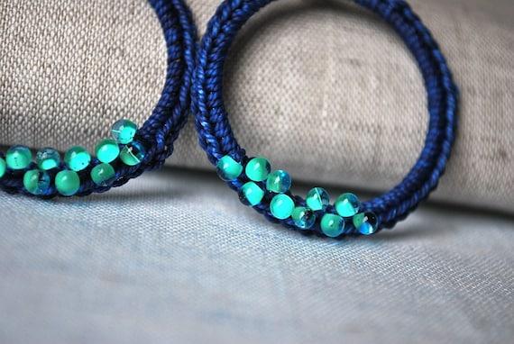 Mediterranean Blue Hoop Earrings with Aqua Droplets Bohemian Jewelry Dangle Loop