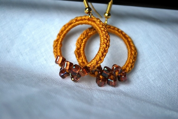 Amber Crochet Loop Earrings with Glass Beads