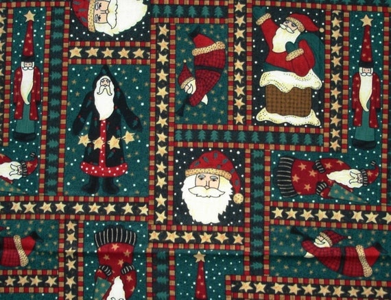 Christmas Fabric - Novelty Santa Print Cotton Fabric in dark Green and Red colors