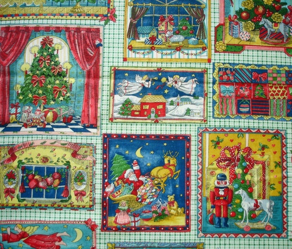 Fabric piece - Novelty Holiday Print cutouts - framed Pictures of Santa, Angels, X-mas Trees and Wreaths