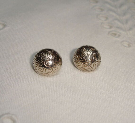 Danish Silver Peasant Buttons - back marked HE BA - Helge Bang, Denmark