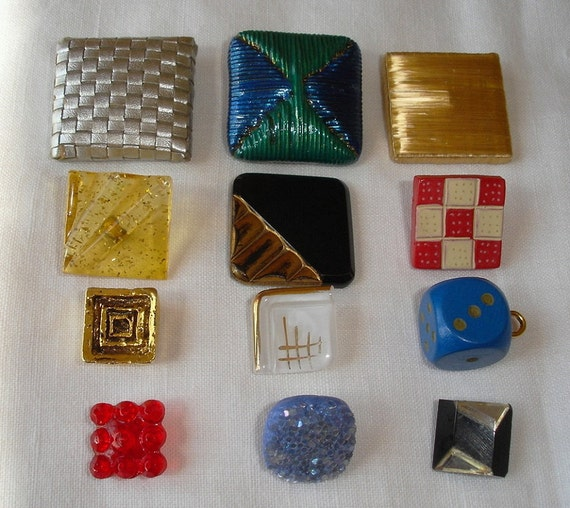 Vintage Square Buttons - many unusual buttons (12)