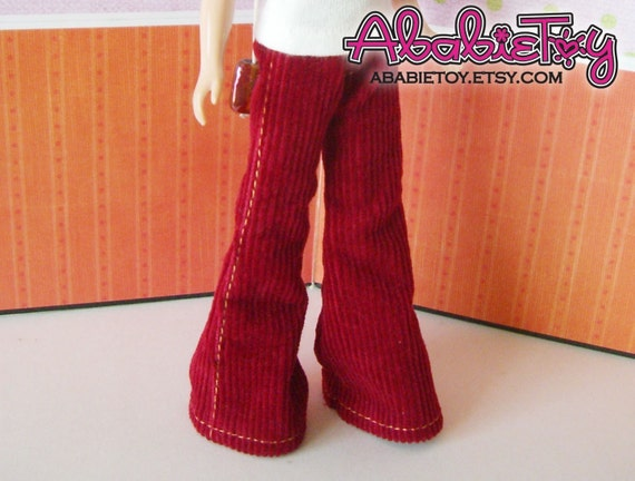 Fashion Flared Corduroy Pant for Blythe - Deep Red