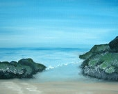 On the Rocks Llangrannog beach in south wales 7 x 7 print,oil on canvas,landscape painting seascape,seaside,holiday,beach