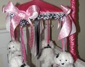 White Bijon Mobile Bichon Puppy Damask Crib Mobile reserved for KIM