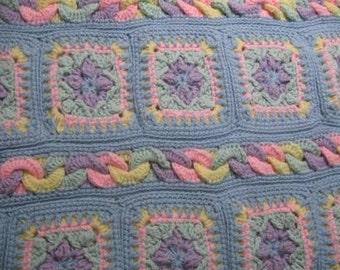 Crochet baby  blanket Fun tactile sensation multi colored