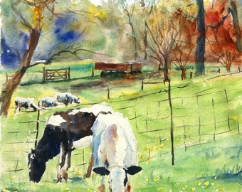 Cows on the Peters Farm print of my Original Water Color