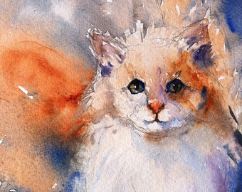 Twitch the Fearless Barn Cat print from my Water Color