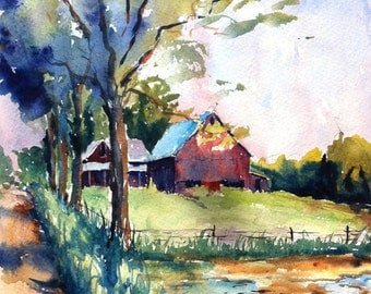 Abandoned Farm on 1000 West print of my original water color