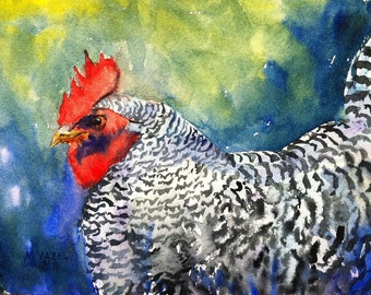 Barred Rock Rooster Print of my Original Water Color