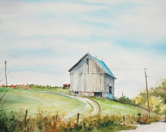 Blue Skies Print of Farm in Rural Fulton County Indiana form my Original Water Color