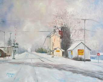 Winter Mill, Print of my Original Oil Painting