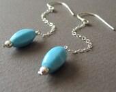 Dangle Earrings, Drop Earrings, Sterling Silver, Chalk Turquoise - Lantern Earrings