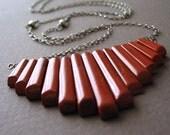 Long Necklace, Red Jasper, Sterling Silver, Primitive, Fan  -  Native Daughter Necklace