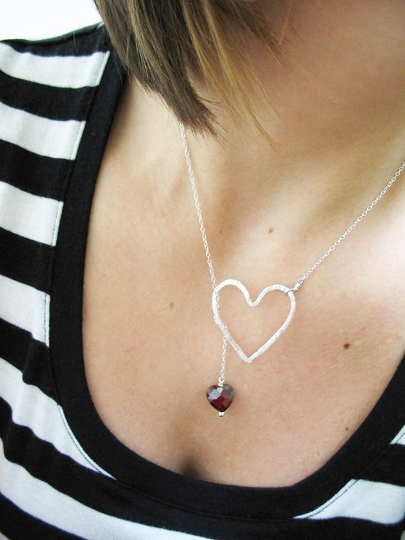 Two Hearts Lariat--Sterling Silver and Cubic Zirconia