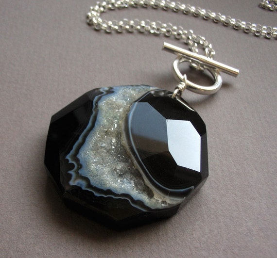 Galaxy Necklace--Black Agate Druzy and Sterling Silver