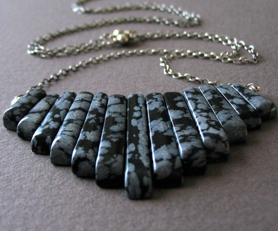 Snowflake Obsidian Necklace, Sterling Silver, Long Necklace, Fan, Primitive - Native Daughter Necklace