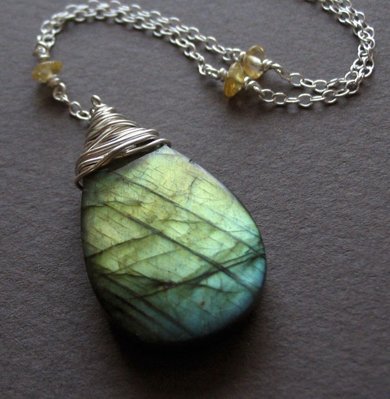Golden Glow Y-Style Necklace--labradorite, citrine and sterling silver