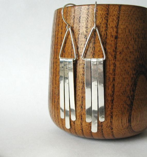 Dangle Earrings, Sterling Silver, Long, Bright, Shiny, Modern, Swingy, Minimalist  - Sunset Strip Earrings