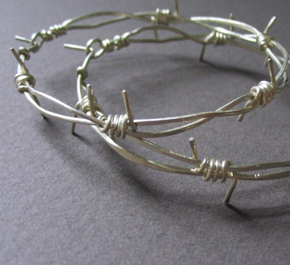Barbed Wire Hoops--Hand Forged Sterling Silver