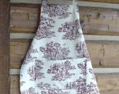 Toile Apron  100% Cotton Cranberry  Red  White  Beige  with Pocket