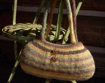 Handknit Felted Purse Handbag Brown Green Yellow Stripes with Vintage Buttons