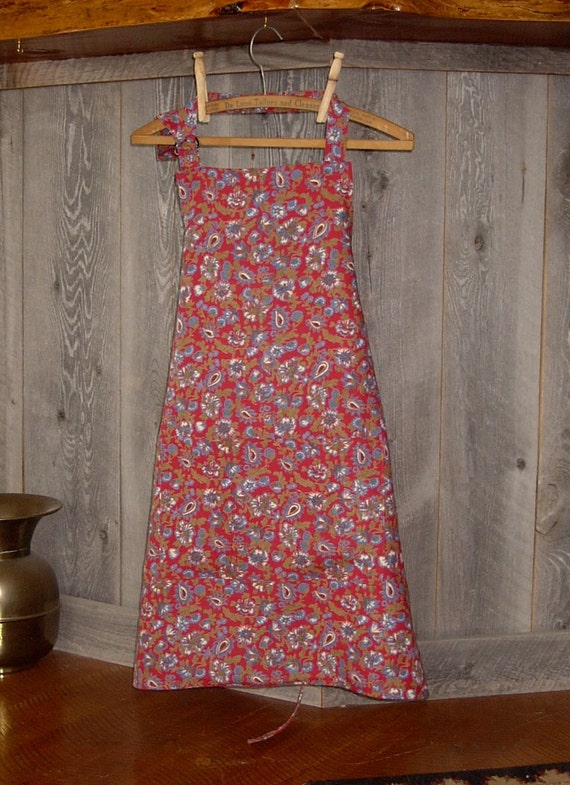 Full Apron 100% Linen Red Blue Green Floral Print