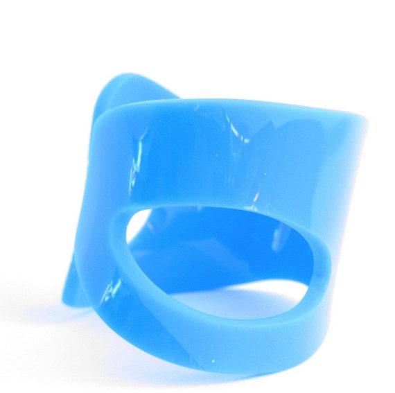 Abstract Aqua Blue hand cut Acrylic cuff