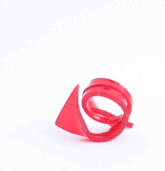 Red fin Ring - Red Translucent Acrylic