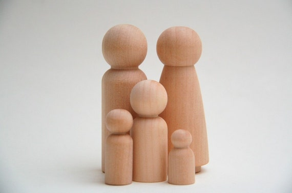 2 All Boy Families - All Natural Wooden Dolls