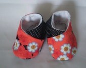 SUMMER CLEARANCE SALE- Red Floral Wrap Booties- Size 0 to 6 months