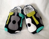 Baby Booties- Michael Miller Groovy Guitars- Size 6 to 12 months