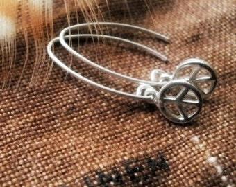 Peace Earrings, Sterling Silver, Dangles