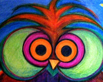 Whimsical Owl, Watercolor Painting