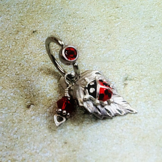 Ladybug Body Jewelry Sterling Silver Siam Red