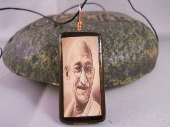 Mahatma Ghandi Bamboo Tile Necklace