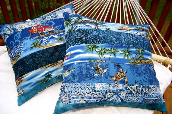 Hawaiian Pillow COVERS  18 Inch Pair