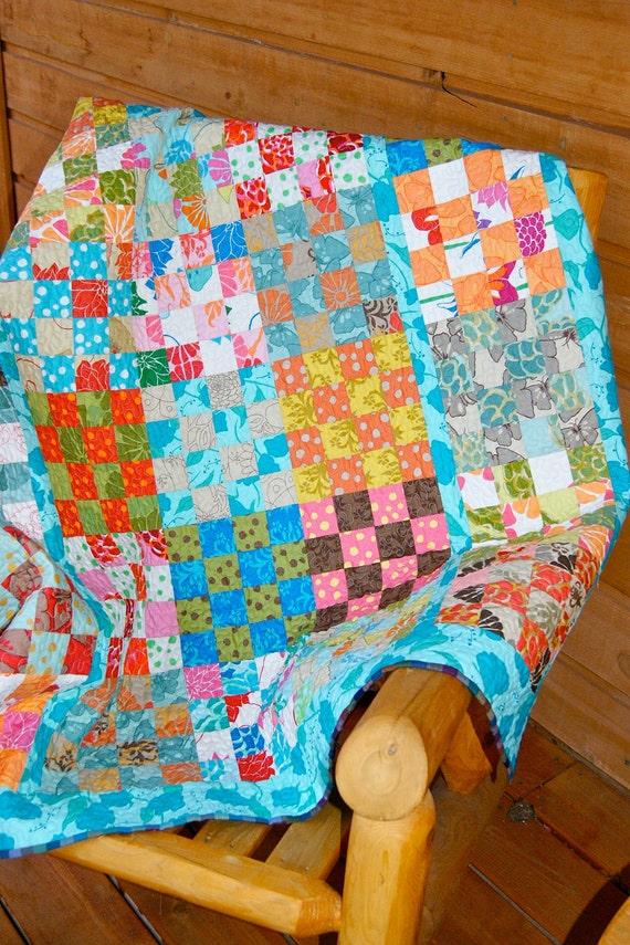 Quilt Handmade Patchwork Throw Lap Size Del Hi Fabric